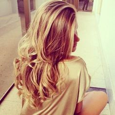 long loose layers and golden blonde