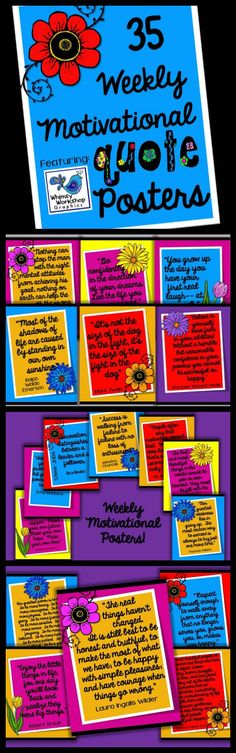 """Inspire students with this product: """"Weekly Motivational Posters""""!  Posters for each week of the school yer!  Teacher checklist and student response prompts included! $"""