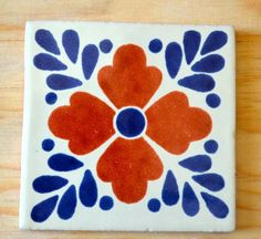 """12 Mexican Talavera tiles hand-painted 4 """"X Mexican Colors, Mexican Art, Mexican Tiles, Tile Art, Wall Tiles, Azulejos Diy, Art Populaire, Blue Pottery, Pottery Designs"""