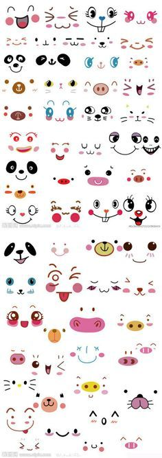 these face could be used for chibi's or kawaii drawings! Diy And Crafts, Crafts For Kids, Arts And Crafts, Paper Crafts, Diy Paper, Kawaii Faces, Cartoon Faces, Clay Pots, Rock Art