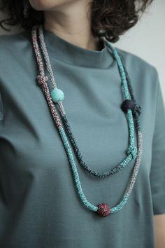 Multicolored - Purple-Turquoise Snake Neckelace www.borinanai.com