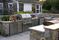 A beautiful outdoor kitchen on the island of Nantucket. Check out this project and more in the Kalamazoo outdoor kitchen gallery. Outdoor Kitchen Cabinets, Build Outdoor Kitchen, Outdoor Kitchen Design, Outdoor Cooking, Outdoor Kitchens, Outdoor Spaces, Backyard Kitchen, Outdoor Patios, Backyard Bbq