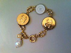 HANDMADE 126 - bangle mix bottoni logo - perla barocco