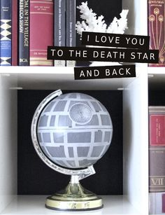 """I love you to the Death Star and back"" by Hydrangea Girl. A charity shop globe + grey spray paint."