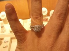 Zales halo cluster engagement ring and wedding band set. Love love love!