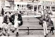 MARLENE DIETRICH sitting on  a Leicester Square bench, next to elderly couple unaware of the star in their midst. Marlene was appearing at the Cafe de Paris in London. 1954. Voir Pages Suivantes. (please follow minkshmink on pinterest)
