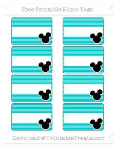 Free Robin Egg Blue Horizontal Striped  Mickey Mouse Name Tags