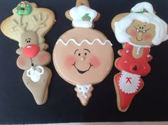 Christmas cookies — Cookies! Adorable!  Love Mrs. Claus or Aunt Holly!  Edible marker for faces.