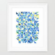 Starry Starry Night, Geometric Art, Abstract, Hand Painted, Giclee Print, 8x10, Watercolor painting by Suisai Genki, Traingle, Modern Art