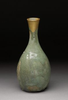 Celadon Bottle with Irregular Glaze, Korean glazed stoneware. Samuel P. Harn Museum of Art, Gift of General James A. Van Fleet