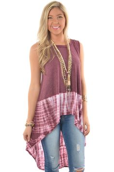 Maroon Tie-Dyed Top with High-Low Hem #iheartDSP #TieDye #Chic