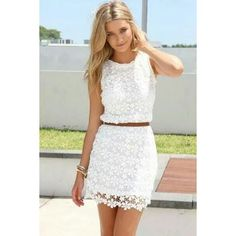 White Floral Hollow-out Sleeveless Cute Casual Lace Summer Dress via Polyvore