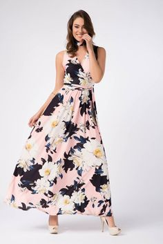 Kadın Desenli Uzun Elbise 17L5224