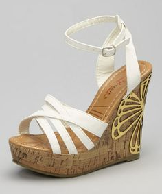 White Alexa Wedge Sandal by I Heart Footwear #zulily #zulilyfinds