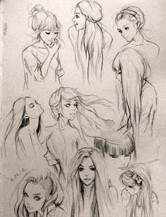 Different hair sketches