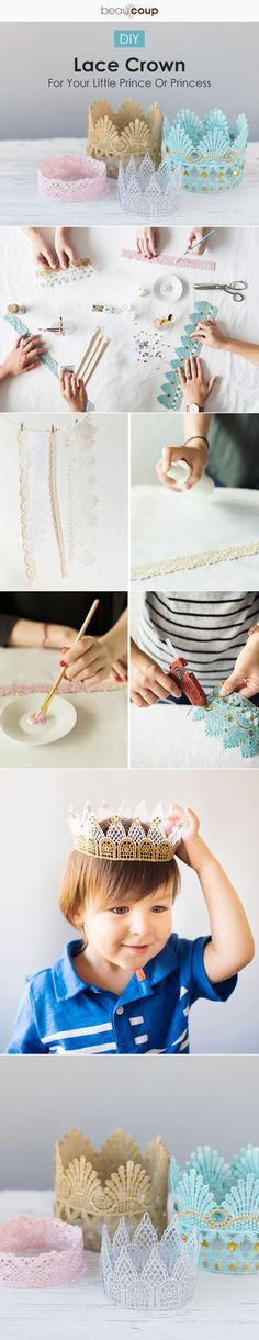 DIY the perfect lace crown! Perfect for a little prince or princess party.: