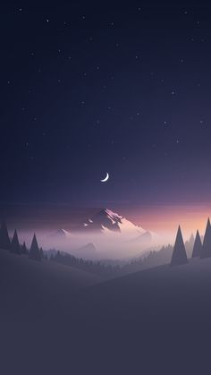 Stars And Moon Winter Mountain Landscape  #iPhone #6 #wallpaper