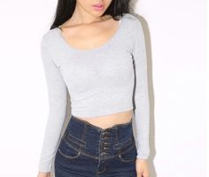 New Woman Crop Top Tee T-shirt Size Long Sleeve Tops Tight Shirt  $ 4.19