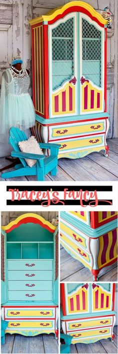 Circus Armoire inspired by whimsy Big Top Colors and Heirloom Traditions paints | Tracey's Fancy Bold Painted Furniture Makeover