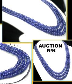 473.8 Ct Natural Tanzanite Necklace Blue Round bead Lustrous estate certified NR #BOUNKIT
