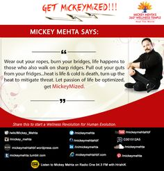 """#GetMickeymized  """"Wear out your ropes,burn your bridges,life happens to those who also walk on sharp ridges.   Pull out your guts from your fridges...heat is life & cold is death,turn up the heat to mitigate threat.   Let passion of life be optimized , get #Mickeymized.""""   Share this to start a #wellness revolution for #human evolution.  Reebok 'Fit in 15' Ep. 1  https://youtu.be/iVBu_QxA94E"""