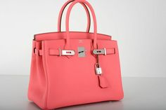 Hermes Rose Lipstick Pink Togo Leather 30cm Birkin Bag with Palladium Hardware