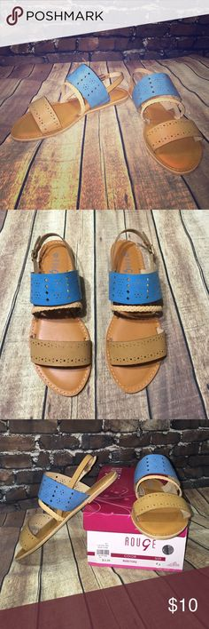 New tan and turquoise cutout strappy sandals braid Really cute, lightweight flat strappy sandals. Size 8.5. Tan and turquoise colors. Adjustable buckle closure strap. Brand new in box. Cute cutout detail on straps. One cute braided strap. Versatile. All man made materials. They look great with jeans, dresses, shorts, and basically everything. **wholesale lots may be available upon request. 5 pairs of assorted sizes for $35** this is a great option if you want to have a boutique here on PM…