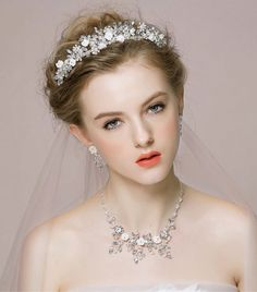 Buy Wholesale Retro Wedding Bridal Jewelry Alloy Flower Rhinestone Crystal Beads Tiaras Necklace Earrings Set from Chinese Wholesaler Crystal Beads, Crystal Rhinestone, Crystals, Hair Clasp, Bridal Jewelry Vintage, Wedding Hair Pins, Pearl Flower, Silver Flowers, Luxury Jewelry
