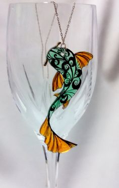 Shrink Plastic Necklace Pendant Orange and Green Koi by JenuoneArt, $7.00