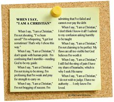When I say I am a Christian poem on sticky note pinned to cork board