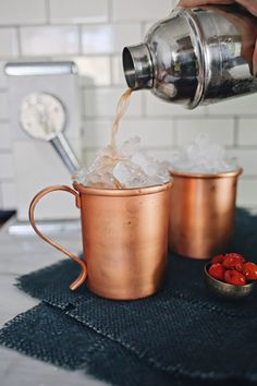 Michigan Mule - a take on the Moscow Mule Copper Mugs, Cherry Tart, Old Fashioned Cocktail, Shopping World, Ginger Ale, Affordable Home Decor, Moscow Mule Mugs, Coffee Maker, Cocktails