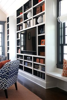 Back of built ins painted navy blue, contemporary, living room bookshelves with tv, Bookshelves With Tv, Floor To Ceiling Bookshelves, Bookcase Wall, Built In Bookcase, Bookcases, Built In Tv Wall Unit, Wall Tv, Room Shelves, Corner Shelves