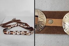 (Co)ncho and Lefty:  Suede CONCHO Belt // 70s Brown Caramel Leather // Southwest Rivets Fringe Tie by JeezumCrowVintage on Etsy