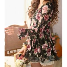 Cute Scoop Neck Long Sleeve Floral Print Lace Blouse For Women #hats, #watches, #belts, #fashion, #style
