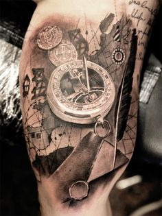 Pocket Watch tattoo by Miguel Bohigues