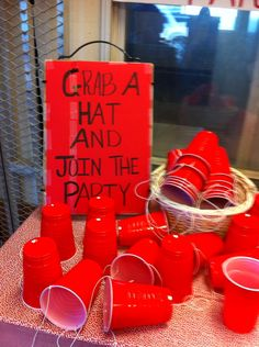 Made red solo cup hats for all the guests for the suprise party. But most people made there own hats. It was great.