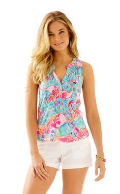 Sleeveless Essie Top - Lilly Pulitzer Iris Blue Shrimply Chic