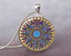 French Rose Compass art pendant charm French by PendantExpressions