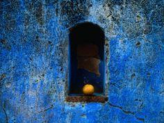 The Weathered Blue Facade to Santa Maria Tonantzintla,Puebla, Mexico