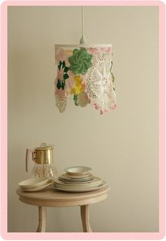 Cool doilie covered lampshade