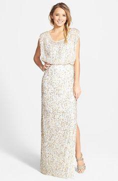 Women's JS Collections Blouson Bodice Sequin Mesh Gown