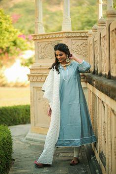 Aalta Frost Blue Chanderi Kurta with legging and gotta jaal dupatta Embroidery On Kurtis, Kurti Embroidery Design, Asian Wedding Dress, Cotton Leggings, Festival Dress, Saree Dress, Stylish Dresses, Designer Wear, Indian Wear