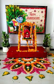 Art ,Craft ideas and bulletin boards for elementary schools: Janmashtami Mandir decoration