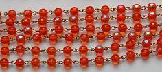 Hyacinth Orange AB Czech Glass Bead Chain Raw by yummytreasures, $4.99