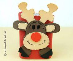 Lembrancinha de natal em EVA com caixa de  leite Rena com Passo a passo com…