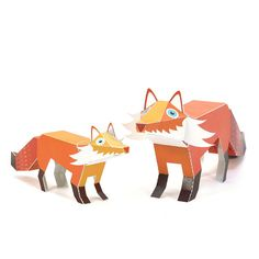 To cut, fold, glue, and play.  PUKACA challenges you to assemble these Maxi Fox Paper Toys! And these paper toys are very special. You can move their heads!  Each kit contains 9 pages of High Quality 100% recycled paper. It has two 3D Paper Toys - one Fox in Maxi size and another in normal size.  Each Paper Toy stands between 3,7 to 5,1 high x 8,6 to 12,2 long, 9,5 cm to 13 cm high x 22 cm to 31 cm long. Our paper toys are printed on 100% recycled paper thats easy to cut and solid for the…