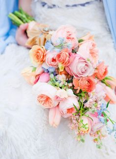 Beautiful peach, coral, and pink bouquet with hints of light blue in an over the arm ballerina style. Stockton Springs, Maine Photo Shoot by Corbin Gurkin Photography + Maine Seasons Events Bouquet Bride, Wedding Bouquets, Wedding Flowers, Boquet, Bouquet Flowers, Delphinium Bouquet, Dr Delphinium, Wedding Pastel, Hand Bouquet