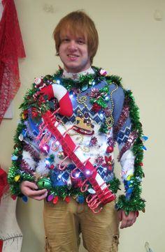 e9a7d219cf7 Interactive Huge 3-D Candy Cane Advent Calendar Tacky Ugly Christmas Sweater  Wild Garland