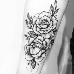 Beautiful black and white floral tattoo design inspiration