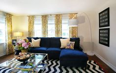 Color Trends | Decorating with Navy Blue - Drapery Street | Navy and Yellow
